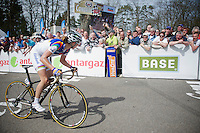 77th Flèche Wallonne 2013..Marianne Vos (NLD) checking the videowall & see herself winning her 5th Flèche Wallonne