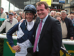 2012.09.09 - Horse Racing - The Curragh Racecourse - Moyglare Stud Stakes.Winning trainer Richard Hannon and jockey Richard Hughes aboard Sky Lantern after winning  The Moyglare Stud Stakes at The Curragh Racecourse in Kildare, Ireland