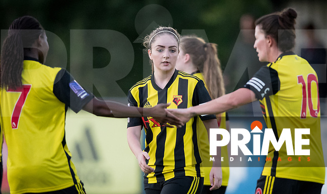 Alysha Stojko-Down of Watford Ladies during goal celebrations during the 2018/19 Pre Season Friendly match between Watford Ladies and Stevenage Ladies FC at Gaywood Park, Hempstead Road, England on 16 August 2018. Photo by Andy Rowland.