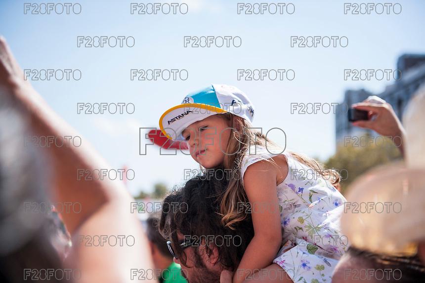 Castellon, SPAIN - SEPTEMBER 7: Kid Astana fan during LA Vuelta 2016 on September 7, 2016 in Castellon, Spain