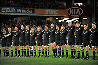The All Blacks line up for the 2017 DHL Lions Series rugby union match between the NZ All Blacks and British & Irish Lions at Eden Park in Auckland, New Zealand on Saturday, 24 June 2017. Photo: Dave Lintott / lintottphoto.co.nz