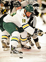 5 February 2011: University of Vermont Catamount forward Matt White, a Freshman from McMurray, PA in action against the Providence College Friars at Gutterson Fieldhouse in Burlington, Vermont. The Catamounts defeated the Friars 7-1 in the second game of their weekend series. Mandatory Credit: Ed Wolfstein Photo