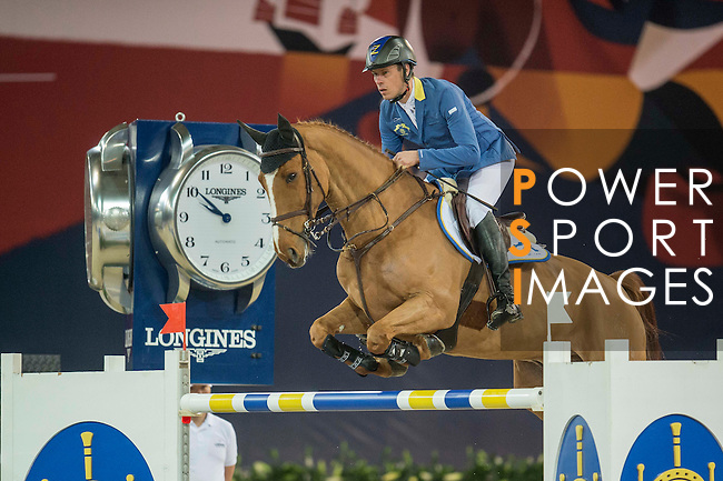 Christian Ahlmann of Germany riding Reavnir during the Hong Kong Jockey Club Trophy competition, part of the Longines Masters of Hong Kong on 10 February 2017 at the Asia World Expo in Hong Kong, China. Photo by Juan Serrano / Power Sport Images