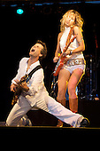 Ana Popovic and bassist Philippe Gonnand play the blues at the Marquette Area Blues Fest on 9/3/06 in Marquette Michigan
