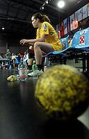 Handball Frauen / Damen  / women 1. Bundesliga - DHB - HC Leipzig : Frankfurter HC - im Bild: Louise Lyksborg ganz allein. Porträt . Foto: Norman Rembarz .