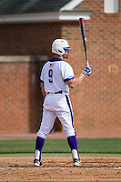 Jordan Sergent (9) of the High Point Panthers at bat against the NJIT Highlanders during game one of a double-header at Williard Stadium on February 18, 2017 in High Point, North Carolina.  The Panthers defeated the Highlanders 11-0.  (Brian Westerholt/Four Seam Images)