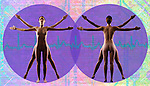 metaphoric composite photo illustration panorama with icons of health including female figure in classic Vitruvian pose