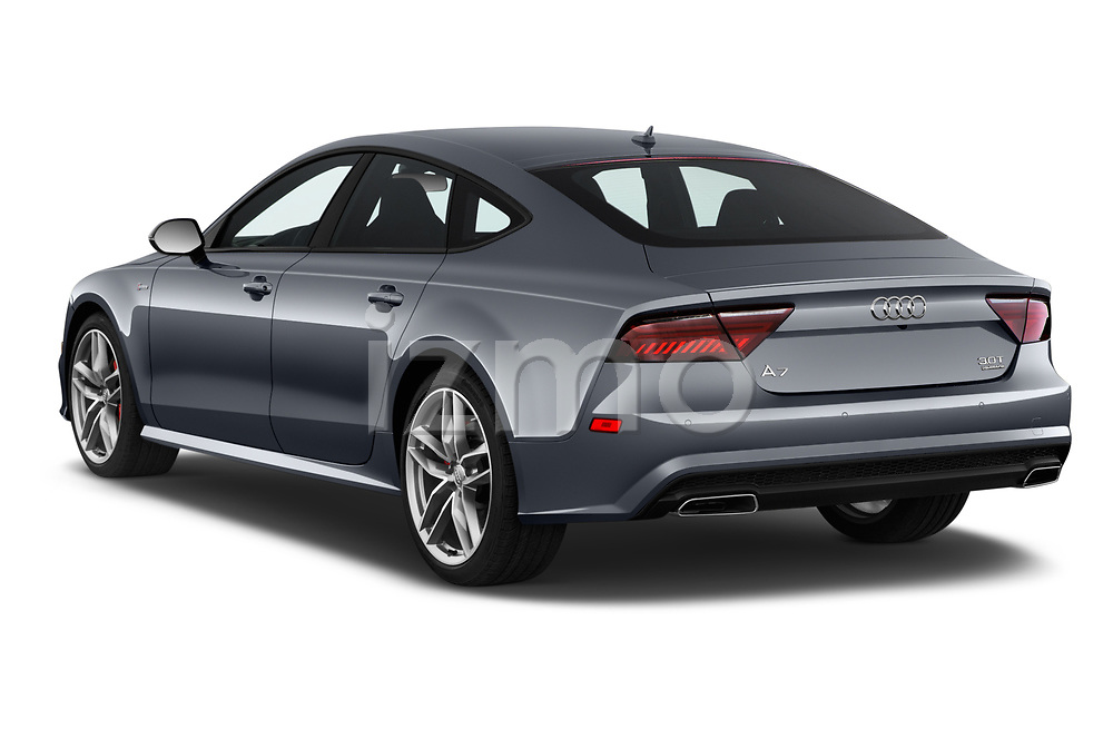 Car pictures of rear three quarter view of a 2018 Audi A7 Premium Plus 5 Door Hatchback angular rear