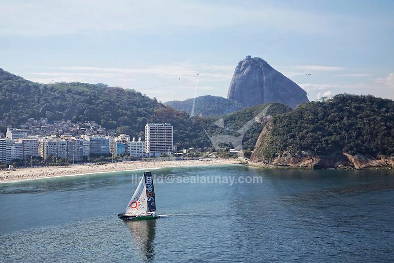The Ultime Class 100' VPLP designed trimaran Sodebo and the Sailing Team in Rio de Janeiro, Brazil.