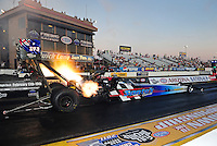 Oct. 14, 2011; Chandler, AZ, USA; NHRA top fuel dragster driver Cory McClenathan during qualifying at the Arizona Nationals at Firebird International Raceway. Mandatory Credit: Mark J. Rebilas-