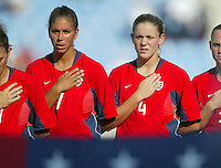 14 August 2004:  Shannon Box and Cat Reddick during national anthem before the game against Brazil at Kaftanzoglio Stadium in Thessaloniki, Greece.   USA defeated Brazil, 2-0. Credit: Michael Pimentel / ISI