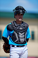 Miami Marlins catcher Nick Fortes (7) during an Instructional League game against the Washington Nationals on September 25, 2019 at Roger Dean Chevrolet Stadium in Jupiter, Florida.  (Mike Janes/Four Seam Images)