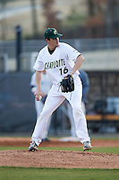 Charlotte 49ers relief pitcher Brandon Vogler (16) in action against the Florida Atlantic Owls at Hayes Stadium on March 14, 2015 in Charlotte, North Carolina.  The Owls defeated the 49ers 8-3 in game one of a double header.  (Brian Westerholt/Four Seam Images)