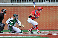 Shortstop Jack Gethings (2) of the Fairfield Stags bats in a game against the Charlotte 49ers on Saturday, March 12, 2016, at Hayes Stadium in Charlotte, North Carolina. The 49ers catcher is Nick Daddio and the home plate umpire is Brad Newton. (Tom Priddy/Four Seam Images)