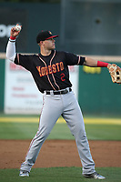 Logan Taylor (2) of the Modesto Nuts throws during a game against the Rancho Cucamonga Quakes at LoanMart Field on June 5, 2017 in Rancho Cucamonga, California. Rancho Cucamonga defeated Modesto, 7-5. (Larry Goren/Four Seam Images)