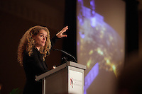 Dec 3rd, 2012 - Montreal, Quebec, CANADA -  Julie Payette, O.C., C.Q., Quebec Scientific Representative to the United States and Canadian Astronaut, at the Canadian Club of Montreal's podium