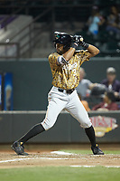Leody Taveras (3) of the Down East Wood Ducks at bat against the Winston-Salem Dash at BB&T Ballpark on May 12, 2018 in Winston-Salem, North Carolina. The Wood Ducks defeated the Dash 7-5. (Brian Westerholt/Four Seam Images)