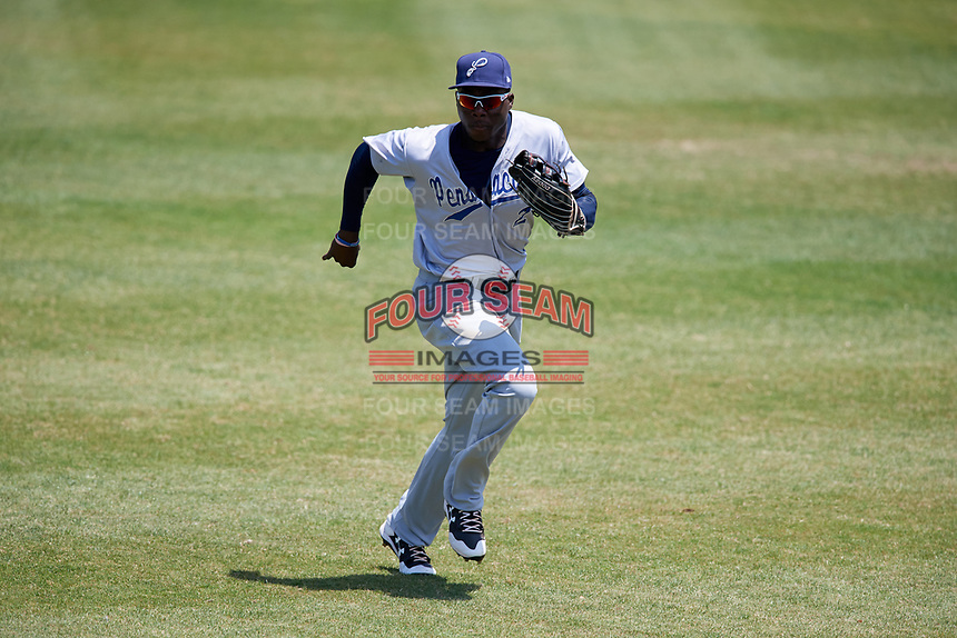 Pensacola Blue Wahoos right fielder Aristides Aquino (2) during a game against the Mobile BayBears on April 26, 2017 at Hank Aaron Stadium in Mobile, Alabama.  Pensacola defeated Mobile 5-3.  (Mike Janes/Four Seam Images)