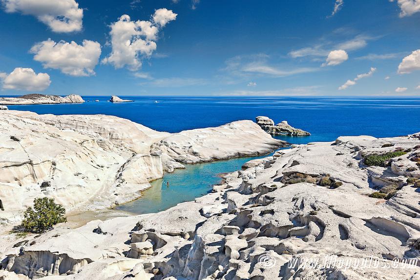 The famous Sarakiniko in Milos, Greece
