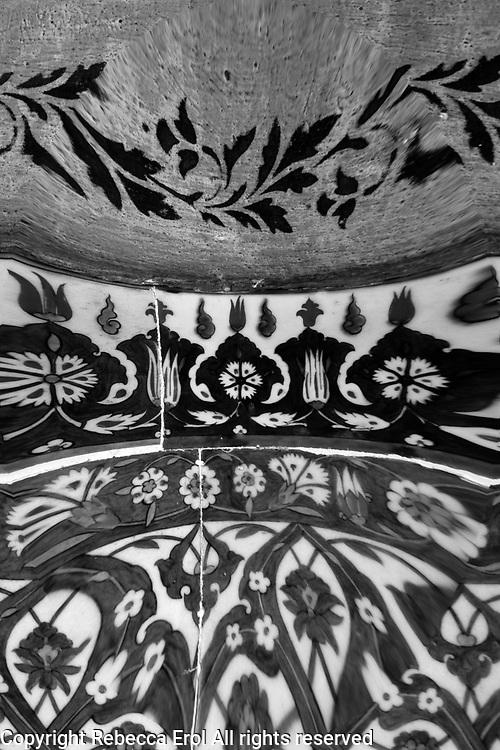 Iznik tiles at the Rustem Pasa Mosque, Istanbul, Turkey