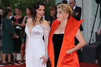 "VENICE, ITALY - AUGUST 28: Juliette Binoche and Chaterine Deneuve walk the red carpet ahead of the Opening Ceremony and the ""La Verite"" (The Truth) screening during the 76th Venice Film Festival at Sala Grande on August 28, 2019 in Venice, Italy., 2019 in Venice, Italy. (Photo by Marck Cape/Inside Foto)<br /> Venezia 28/08/2019"