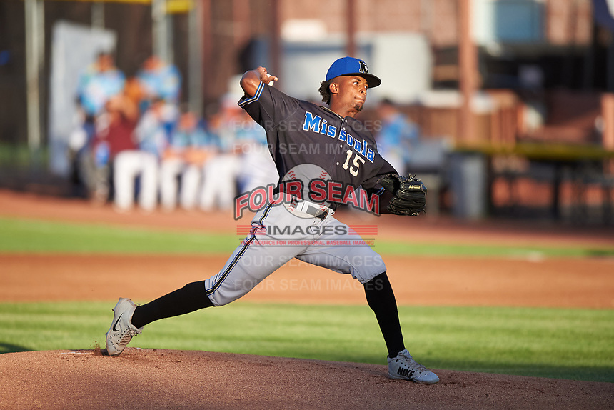 Missoula Osprey starting pitcher Alex Valdez (15) delivers a pitch during a Pioneer League game against the Idaho Falls Chukars at Melaleuca Field on August 20, 2019 in Idaho Falls, Idaho. Idaho Falls defeated Missoula 6-3. (Zachary Lucy/Four Seam Images)
