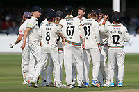 David Payne of Gloucestershire celebrates with his team mates after taking the wicket of Nick Browne during Essex CCC vs Gloucestershire CCC, LV Insurance County Championship Division 2 Cricket at The Cloudfm County Ground on 5th September 2021