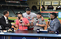 HOUSTON - OCTOBER 30: Kevin Burkhardt, Alex Rodriguez, David Ortiz, and Frank Thomas with Anthony Rendon, Ryan Zimmerman, and Nationals manager David Martinez following World Series Game 7: Washington Nationals at Houston Astros on Fox Sports at Minute Maid Park on October 30, 2019 in Houston, Texas. (Photo by Frank Micelotta/Fox Sports/PictureGroup)