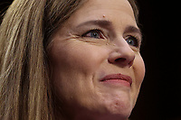 U.S. Supreme Court nominee Judge Amy Coney Barrett testifies on the third day of her U.S. Senate Judiciary Committee confirmation hearing on Capitol Hill in Washington, U.S., October 14, 2020. <br /> CAP/MPI/RS<br /> ©RS/MPI/Capital Pictures