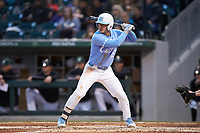 Michael Busch (15) of the North Carolina Tar Heels at bat against the Charlotte 49ers at BB&T BallPark on March 27, 2018 in Charlotte, North Carolina. The Tar Heels defeated the 49ers 14-2. (Brian Westerholt/Four Seam Images)