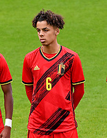 Noah Mawete Kinsiona (6) of Belgium pictured in action during a soccer game between the national teams Under17 Youth teams of  Norway and Belgium on day 3 in the Qualifying round in group 3 on Tuesday 12 th of October 2020  in Tubize , Belgium . PHOTO SPORTPIX | DAVID CATRY