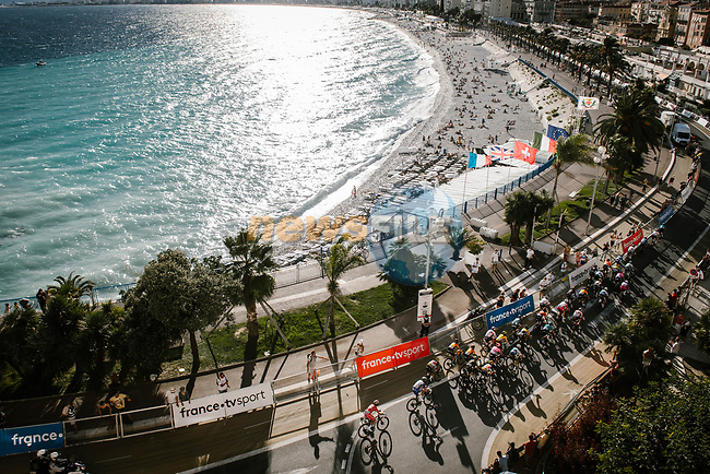 The neutralised section along Promenade des Anglais before the start of Stage 2 of Tour de France 2020, running 186km from Nice Haut Pays to Nice, France. 30th August 2020.<br /> Picture: ASO/Pauline Ballet | Cyclefile<br /> All photos usage must carry mandatory copyright credit (© Cyclefile | ASO/Pauline Ballet)