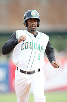May 15, 2010: Myrio Richard of the Kane County Cougars at Elfstrom Stadium in Geneva, IL. The Cougars are the Midwest League Class A affiliate of the Oakland Athletics. Photo by: Chris Proctor/Four Seam Images