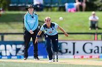 23rd February 2021, Christchurch, New Zealand;  Tash Farrant of England during the 1st ODI Cricket match, New Zealand versus England, Hagley Oval, Christchurch, New Zealand