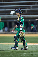 Notre Dame Fighting Irish catcher David LaManna (3) on defense against the Wake Forest Demon Deacons at David F. Couch Ballpark on March 10, 2019 in  Winston-Salem, North Carolina. The Demon Deacons defeated the Fighting Irish 7-4 in game one of a double-header.  (Brian Westerholt/Four Seam Images)