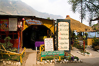 Restaurant on water with cafe and bar in San Antonio on remote Lake Atitlan in Guatemal