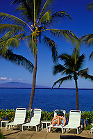 Tourist enjoying the sun and relaxing at the Wailea Marriott(the old Intercontinental Hotel)with tall palms overhead and a scenic view of the island of Lanai in the background. The resort is between Ulua Beach to the right and Wailea Beach to the le