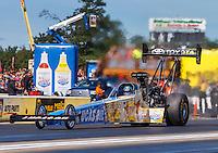 Aug 21, 2016; Brainerd, MN, USA; NHRA top fuel driver Morgan Lucas during the Lucas Oil Nationals at Brainerd International Raceway. Mandatory Credit: Mark J. Rebilas-USA TODAY Sports