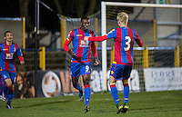 Fred Ladapo of Crystal Palace celebrates the first goal as Watford are drawn to meet Crystal Palace at the same time the Under 21s meet at St Albans FC in a development fixture, Palace lead at HT 3 0 during the U21 Professional Development League match between Watford U21 and Crystal Palace U21 at Clarence Park, St Albans, England on 14 March 2016. Photo by Andy Rowland.