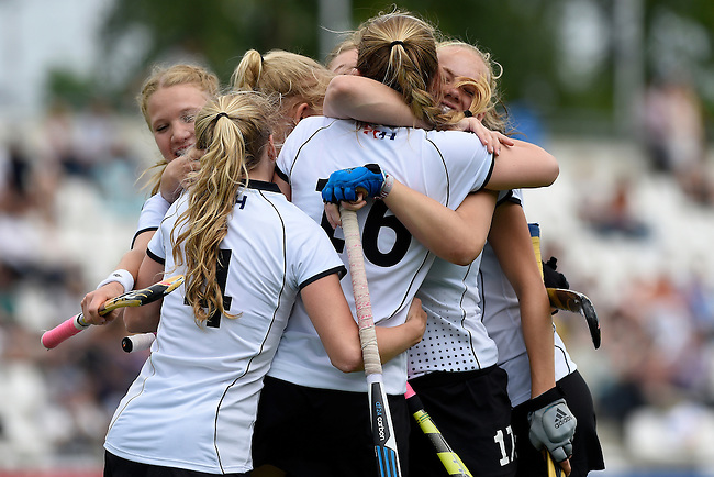 GER - Mannheim, Germany, May 24: During the U16 Girls match between Australia (green) and Germany (white) during the international witsun tournament on May 24, 2015 at Mannheimer HC in Mannheim, Germany. Final score 0-6 (0-3). (Photo by Dirk Markgraf / www.265-images.com) *** Local caption *** Emma Davidsmeyer #4 of Germany, Pia Maertens #16 of Germany, Emily Kerner #17 of Germany, Clara Roth #6 of Germany
