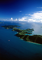 Aerial view of St John's east end including Hurricane Hole.U.S. Virgin Islands