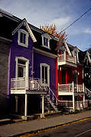 Montreal (Qc) CANADA - File photo taken between 1984 and 1999 - Colored houses in Le Plateau burrough