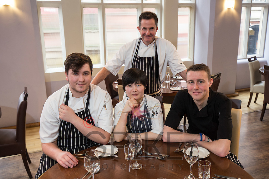Mark Anderson of the Ruddington Arms (rear), pictured with his chefs, from left Morgan Gerrard, Qiu Chen and Alistair Beattie