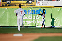 Tri-City ValleyCats right fielder Gilberto Celestino (23) makes a catch on the warning track during a game against the Vermont Lake Monsters on June 16, 2018 at Joseph L. Bruno Stadium in Troy, New York.  Vermont defeated Tri-City 6-2.  (Mike Janes/Four Seam Images)