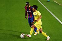 27th September 2020; Camp Nou, Barcelona, Catalonia, Spain; La Liga Football, Barcelona versus Villareal;  Takefusa Kubo of Villareal takes on  Dembele
