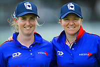 Auckland's Anna Peterson and Katie McNeill, who both scored centuries in Auckland's 10-run victory in the women's Hallyburton Johnstone Shield cricket match between the Wellington Blaze and Auckland Hearts at Basin Reserve in Wellington, New Zealand on Sunday, 17 November 2019. Photo: Dave Lintott / lintottphoto.co.nz