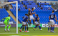 12th September 2020; Cardiff City Stadium, Cardiff, Glamorgan, Wales; English Championship Football, Cardiff City versus Sheffield Wednesday; Sean Morrison of Cardiff City heads the ball clear from goal