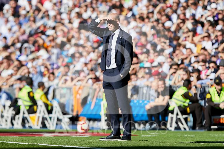 Real Madrid's coach Zinedine Zidane during La Liga match between Real Madrid and Real Club Celta de Vigo at Santiago Bernabeu Stadium in Madrid, Spain. March 16, 2019. (ALTERPHOTOS/A. Perez Meca)