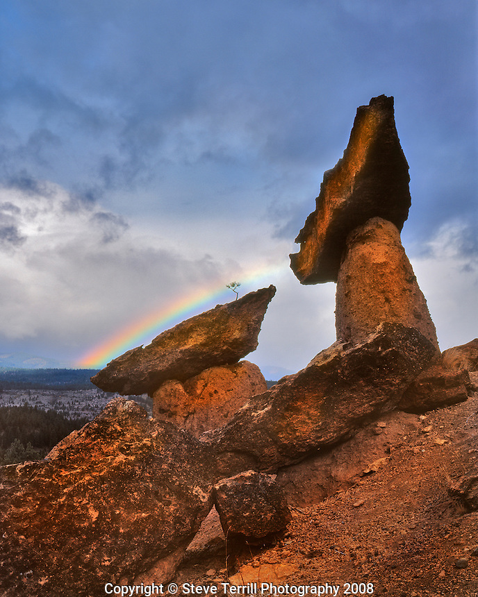 The Balancing Rocks with rainbow in Jefferson County, Oregon