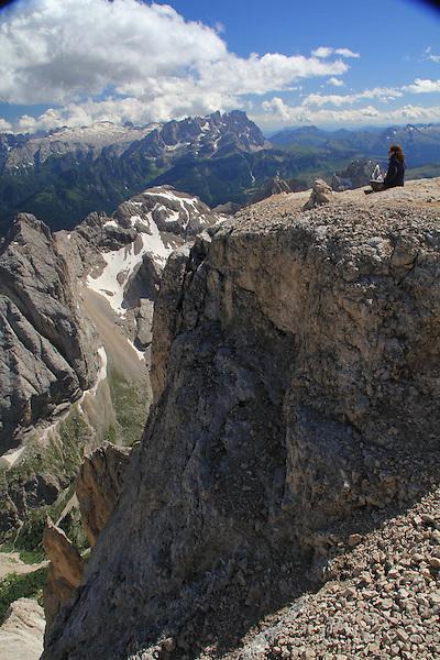 Ascending Mt Marmolada, Dolomites, northern Italy, Europe.
